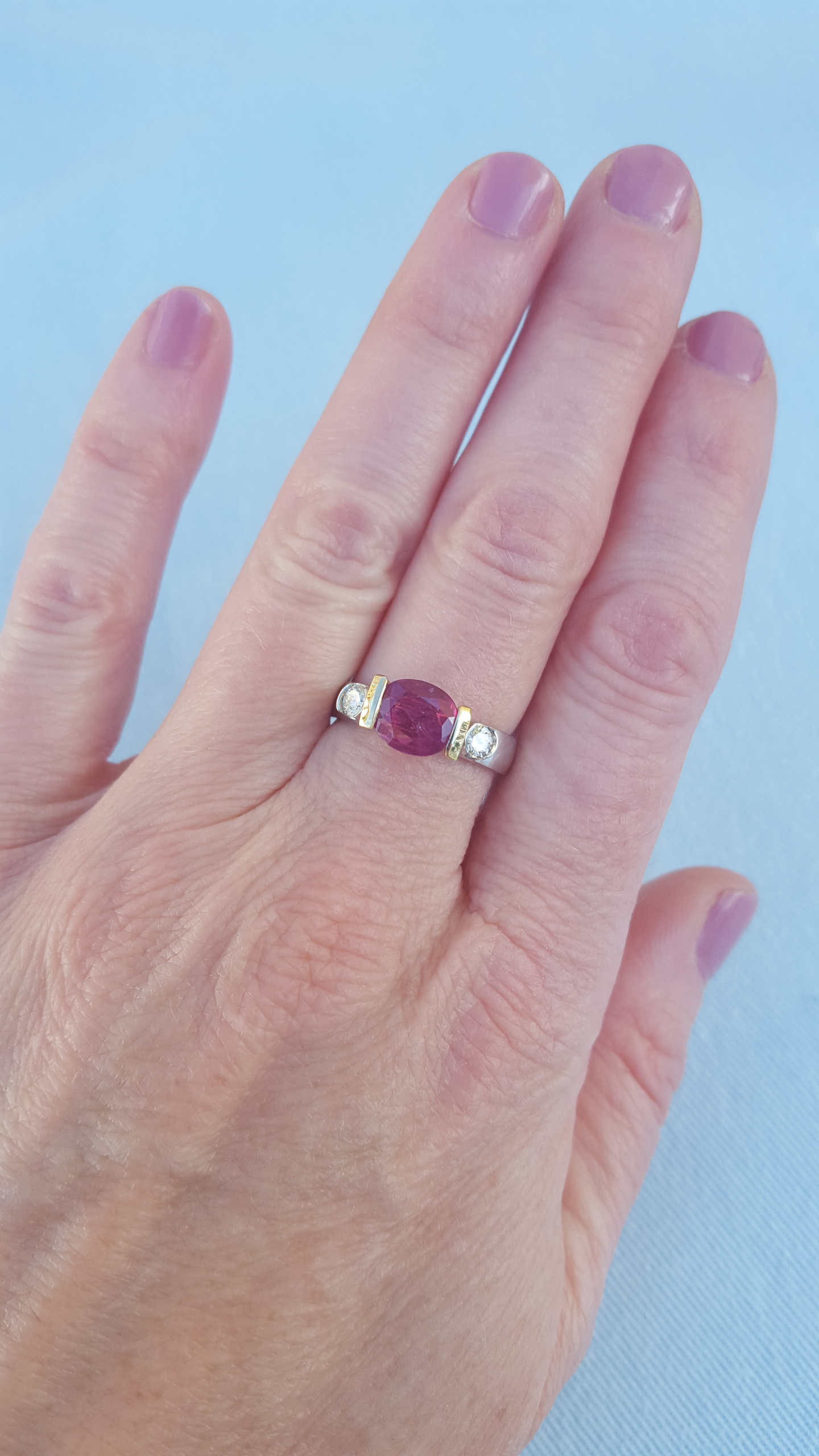 Ruby Ring Accented with White Diamonds On Each Side Set in 14 kt ...